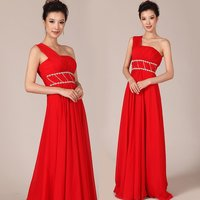 New Floor length Red Chiffon Beaded Long Formal Evening Dress Corset Prom Dresses Lace Up Back HU079