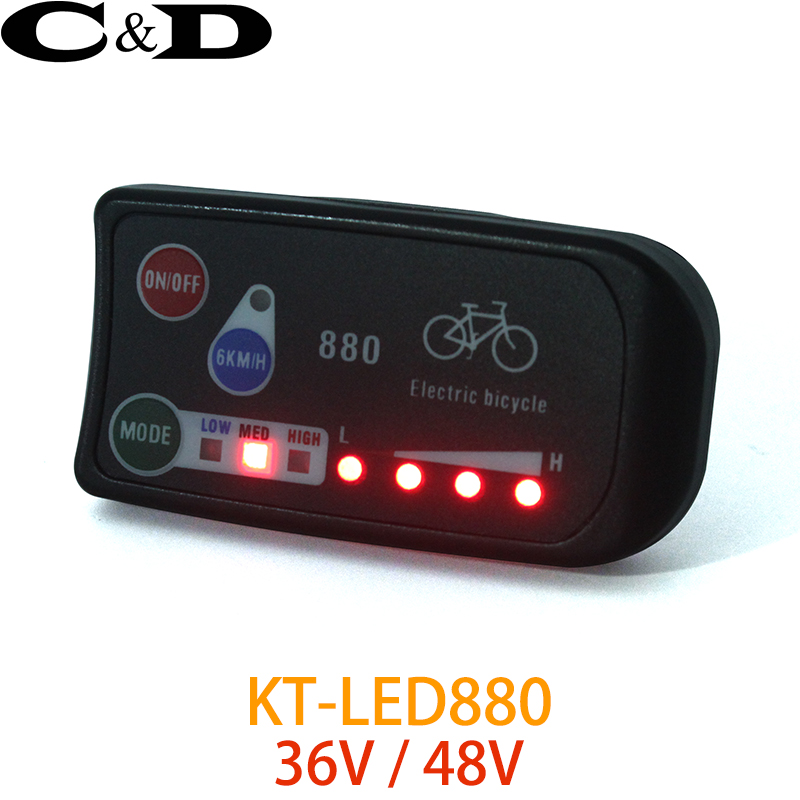 Free Shipping 36V 48V Electric Bicycle KT  LED LED880 Ebike Control Panel Display Electric Bike Parts For KT Controller