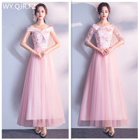 XBQS8021#Peach pink Bridesmaid Dress long dresses girl lace up in the back Sister Group of Graduation Dresses