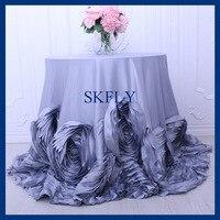 CL052JA round flower fancy wedding light grey taffeta cake rosette tablecloths