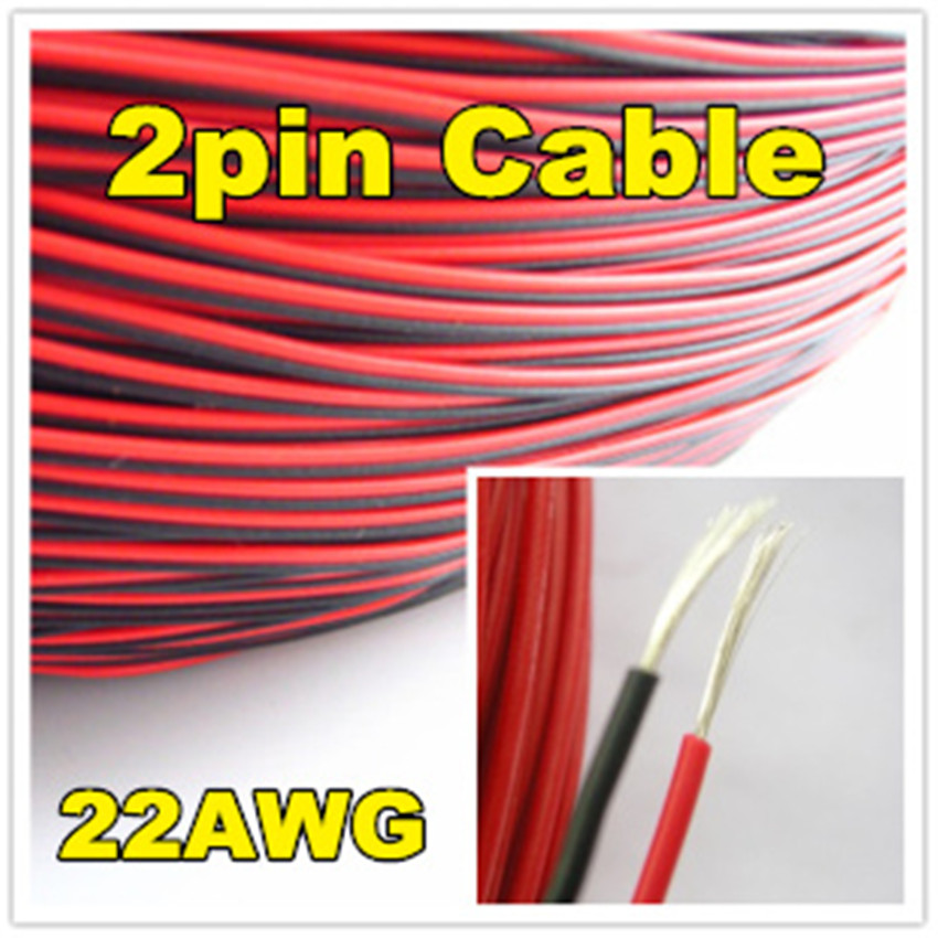 4 meters 2pin PVC Insulated Cable Red Black Wire 22AWG 2P 12V DC ...