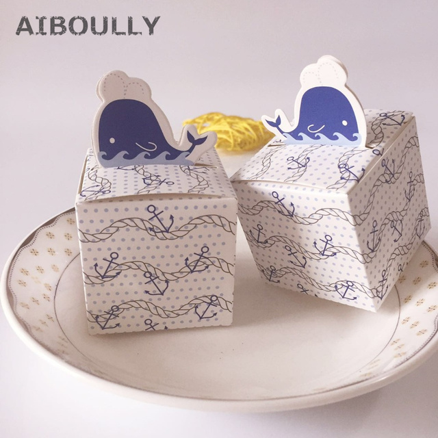 10pcs/lot DIY Nautical Whale Anchor Candy boxes for Baby Shower ...