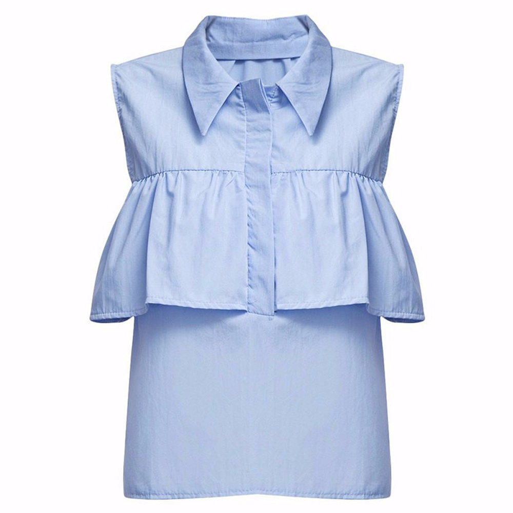 VESTLINDA Summer Women Off the Shoulder Ruffles Blouse Shirts Turn Down Collar Casual Sexy Tops Chemise Femme Work Office Blusas 13