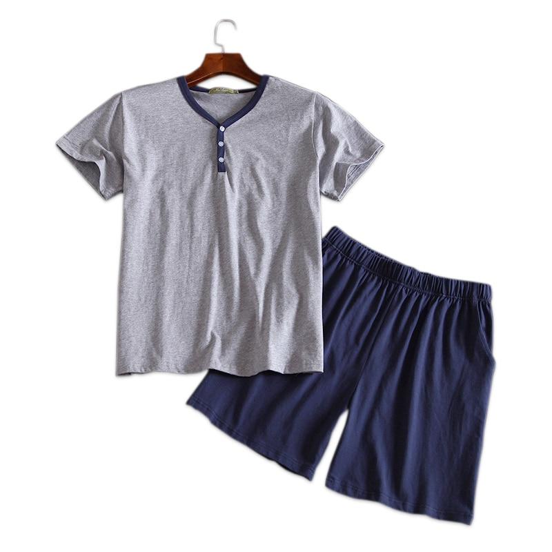 Summer Sexy V-neck 100% Cotton Pajama Sets Mens Cosy Short-sleeve Shorts T-shirts Male Homewear Korean Mens Short Sleep Indoor