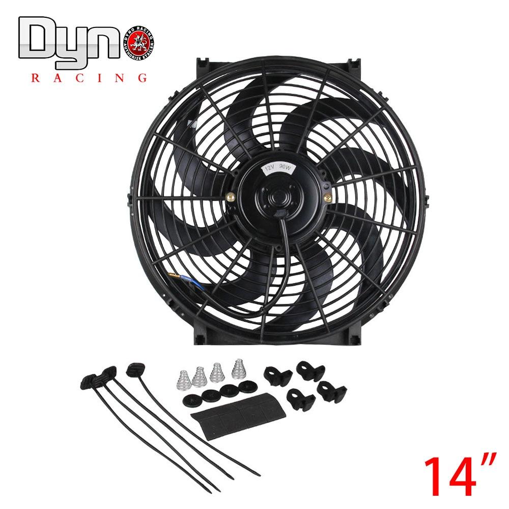 Prix pour 14 pouce Noir 12 V 90 W Électrique Universel Auto De Refroidissement Radiateur Ventilateur Chaude Rad De Montage Kit CF003