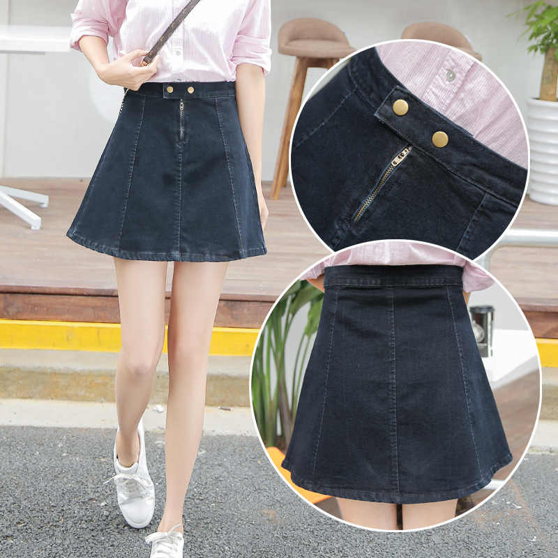 8a0f4199250 ... 2019 Summer Mini Jeans Skirt for Women Student Girls High Waist Black  Jupe Denim Skirts Female