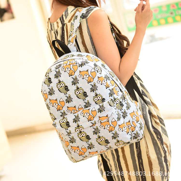 2016 New Canvas Backpack Women School Bags for Teenagers Girls With Owl Bagpack Daily Book Bag
