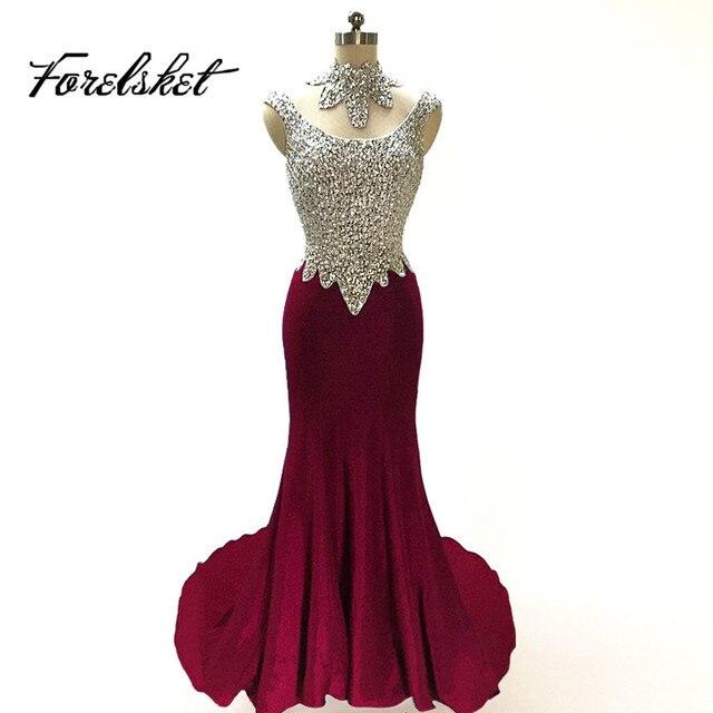 bae9edc0b Nuevo diseño Vestido De satén sirena vestidos 2019 formales De Noche  vestidos fiesta vestidos con cuentas