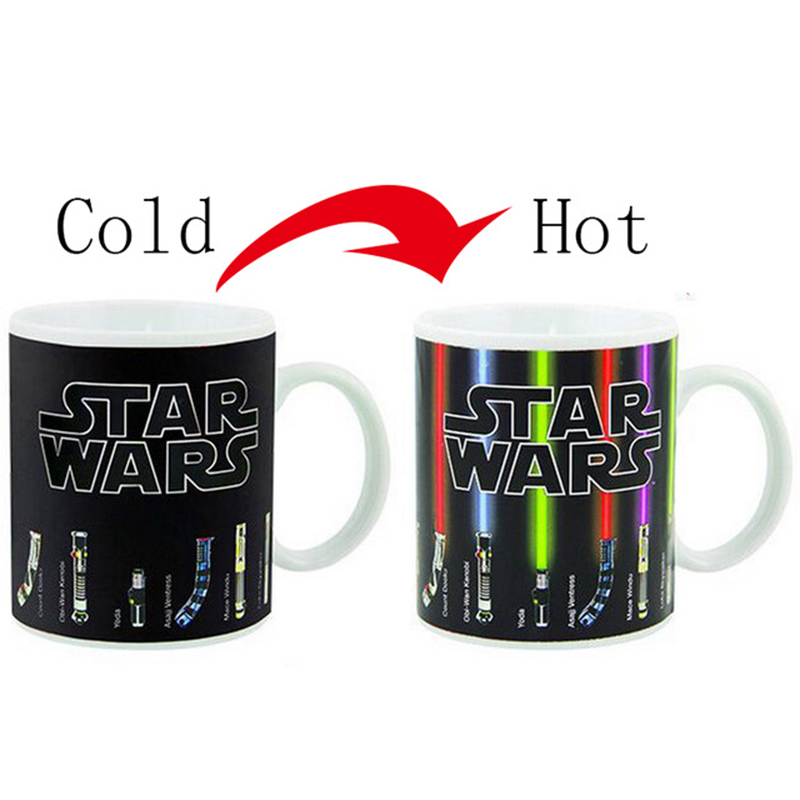 Hot Sale Star Wars Lightsaber Heat Reveal Mug color change coffee cup sensitive Ceramic Mug Temperature