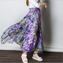 New Fashion Skirts Womens 2016 Spring Summer Women's 8 Meter Pleated Floral Maxi Skirt For Women Long Bohemian Skirt Female