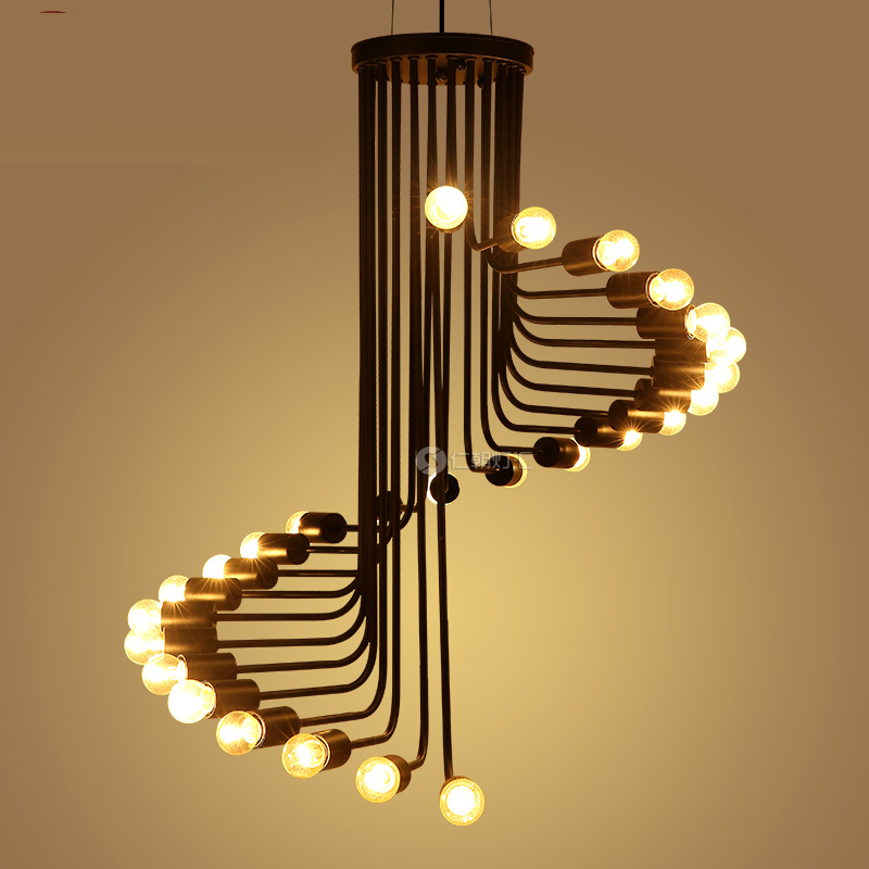 Chandelier American creative retro loft industrial wind personality lighting helix cafe restaurant bar stairs stairs CL GY47 lamps the simple art cafe bar creative lighting american retro restaurant three head rope industrial wind chandelier personalize