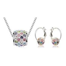 Горячая Австрийский Хрустальный шар посеребренные ожерелье и серьги набор Shambala классический дизайн