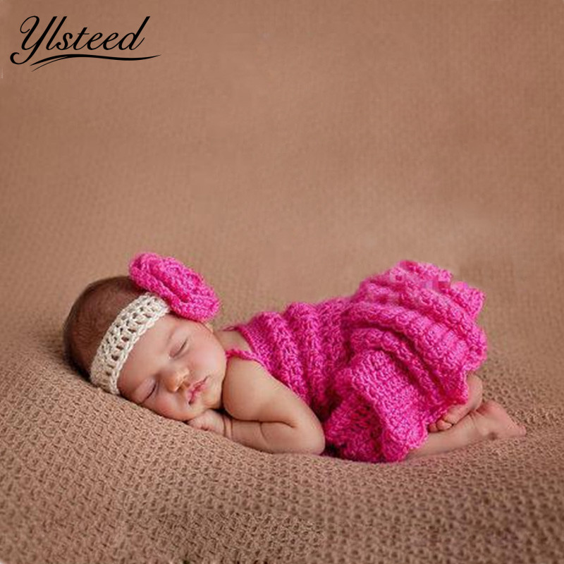 Rose Headband+Dress Newborn Photo Props Newborn Baby Girl Clothes Infant Clothing Set Baby Crochet Costume Newborn Gift newborn baby photography props infant knit crochet costume peacock photo prop costume headband hat clothes set baby shower gift