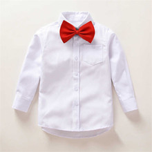 White Blouses for Boys 2017 Fashion Autumn Tie Kids Blouse Boy Wedding Party Shirt for Baby Boy Cotton Children Clothing 6bs001