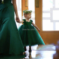 YNQNFS FG56 Real Puffy Ball Gown Princess Baby Kids Child Pageant Birthday Party Bridal Tea Length Green Flower Girl Dresses 201