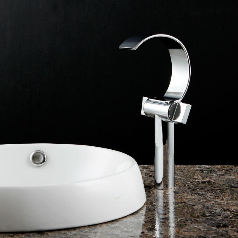 Pont monté en laiton chromé cascade salle de bains bassin robinet évier mélangeur robinet cascade robinet lavabo robinet HG-1224