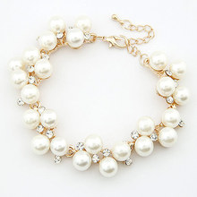 Fashion New Brand Design Luxurious 18K Gold Charm Crystal Cubic Zircon Diamond Pearl Beads Bracelet  For Women Jewelry  D032