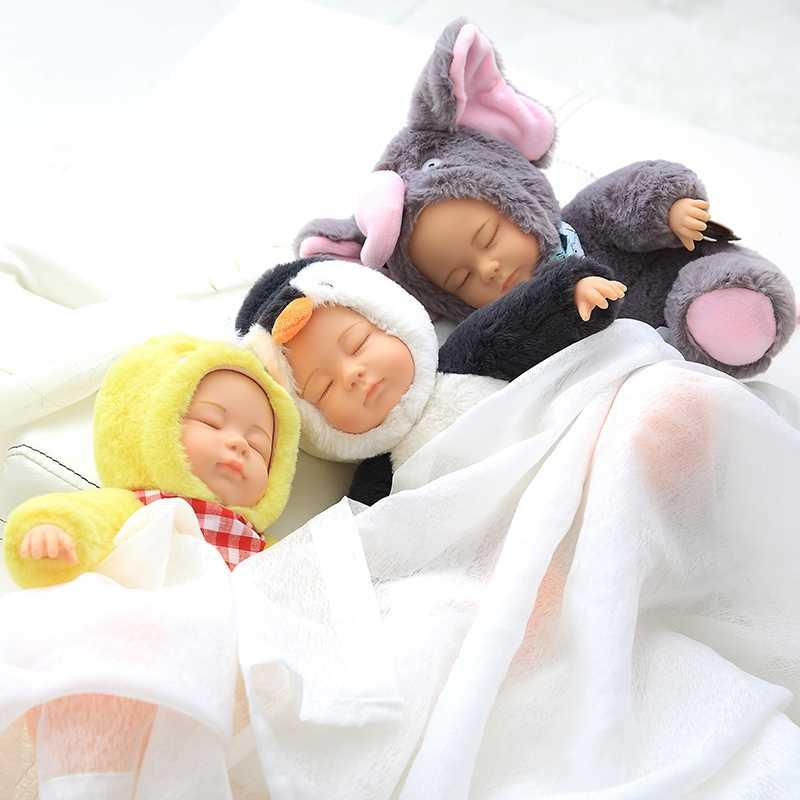 Baby Doll Stuffed & Plush Boneca Reborn Bebê saco de Dormir Do Bebê de Pelúcia Brinquedos de Pelúcia Boneca Bjd Bebe Silicone Rosto Brinquedos para caçoa o Presente de Natal