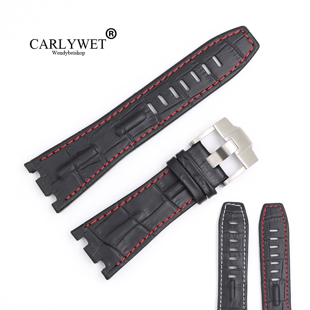 CARLYWET 28mm New High Quality Men Black Real Leather Handmade Thick Wrist Watch Band Strap Belt With Silver Brushed Buckle carlywet new style men women black strap silicone rubber replacement watch band belt special popular