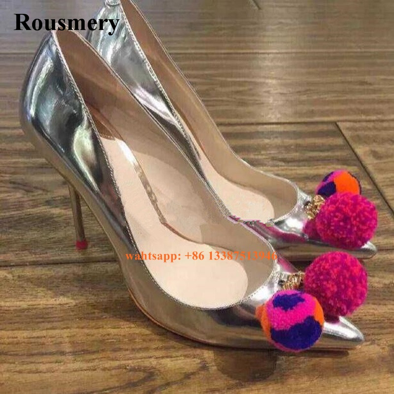 Women Charming Design Pointed Toe Patent Leather Hair Ball Design Pumps Mirror Leather High Heels Formal Dress Shoes stylish women s pumps with patent leather and hollow out design