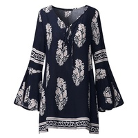 ZANZEA 2017 Women Boho Lace Up V Neck Shirt Floral Print Long Flare Sleeve Casual Autumn