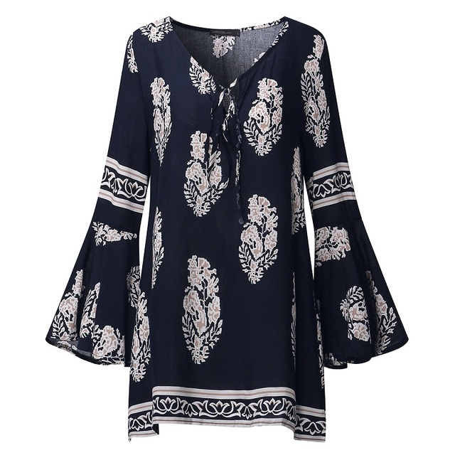 6986be3bd62 ZANZEA 2018 Women Boho Lace-Up V-Neck Shirt Floral Print Long Flare Sleeve