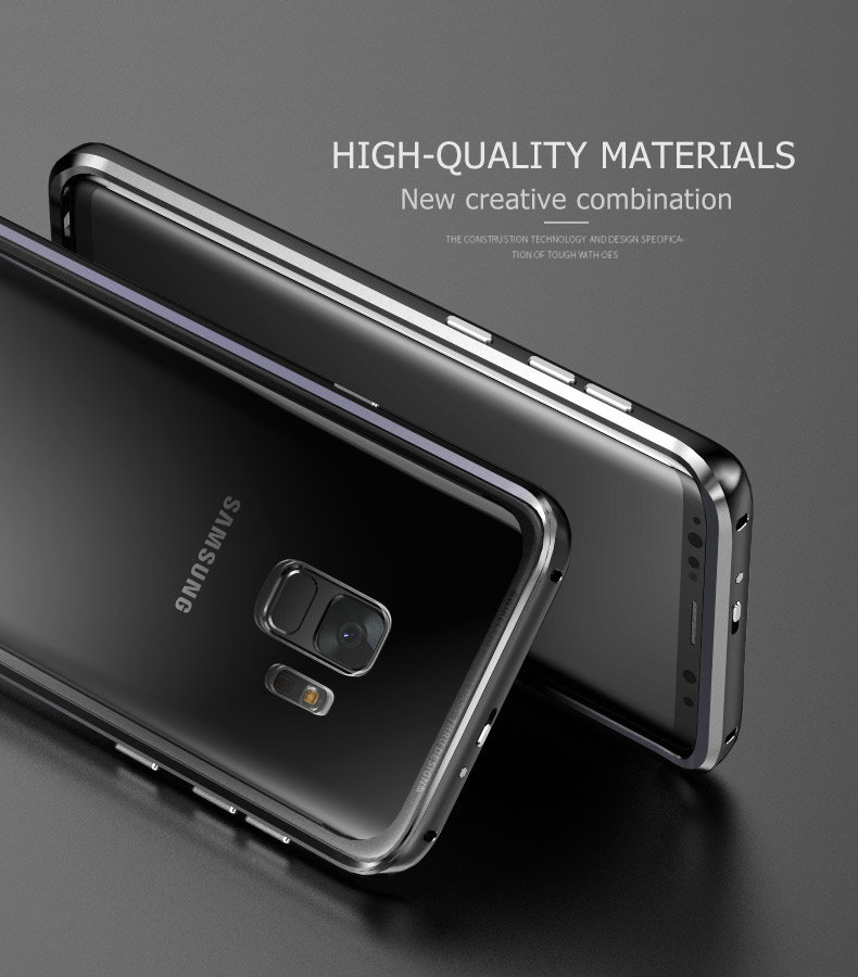 LUPHIE Luxury clear glass cover For Samsung Galaxy S9 S8 Plus Metal Bumper (7)