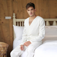 Men Jacquard Tencel White Bodysuit One-piece Sleepwear Jumpsuit Lounge Wear Homewear Romper(China)