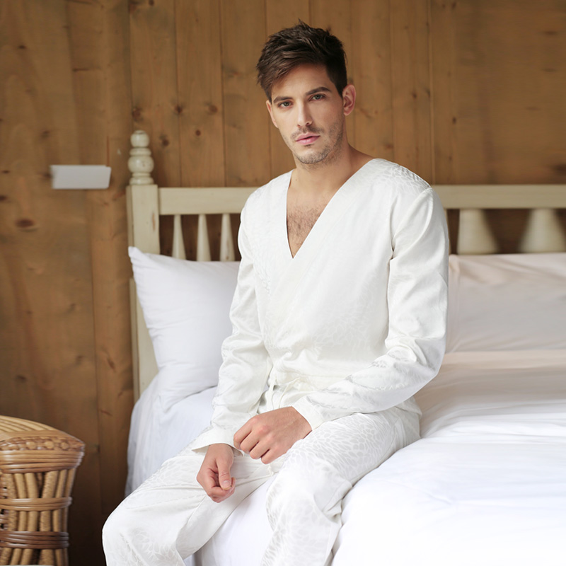 Men Jacquard Tencel White Bodysuit One-piece Sleepwear Pantsuit Lounge Wear Homewear Romper