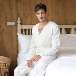 Men Jacquard Tencel White Bodysuit One-piece Sleepwear Pantsuit Lounge Wear Homewear Romper