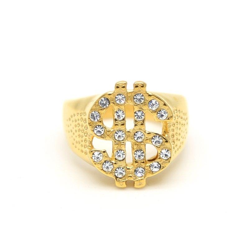 JHNBY Or-couleur Titane acier anneau dollar inscrivez-vous Hiphop Rock style Inlay zircon bling anneau De Mode charme hommes accessoire bijoux
