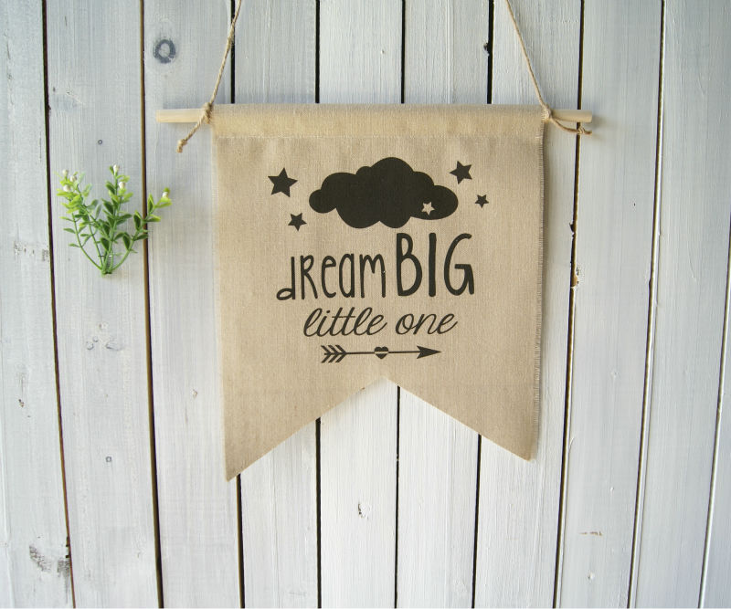 Wall Decor Nursery Art Wall Hanging Kids Room Linen Flag Rustic Banner Pennant Arrow  Cloud Dream Big Little One Baby Shower Gif