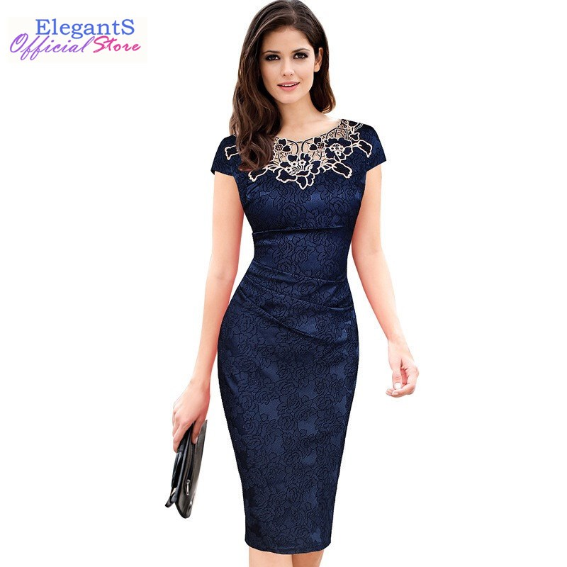 Women Pencil Dress Summer Floral Bodycon O Neck Ruched Lace Dress Elegant Wedding Party Office Work Midi Dresses Formal Vestidos