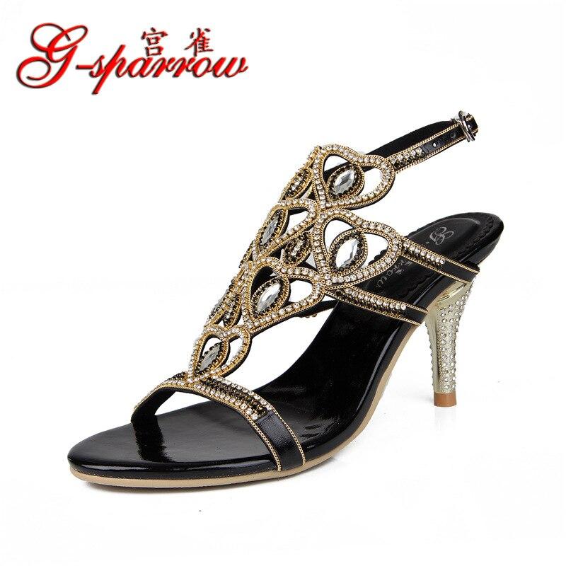 Stylet 8 Cm G Diamant sparrow Hauts Cristal Sandales Noir Chaussures À Talons Strass Lunettes Femmes Féminin z6rwSZzq
