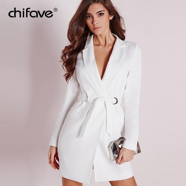 2018 New Female White Blazer Slim Black Long Women Blazers And Jackets Autumn Ladies Long Sleeve Sashes Women's Jacket chifave