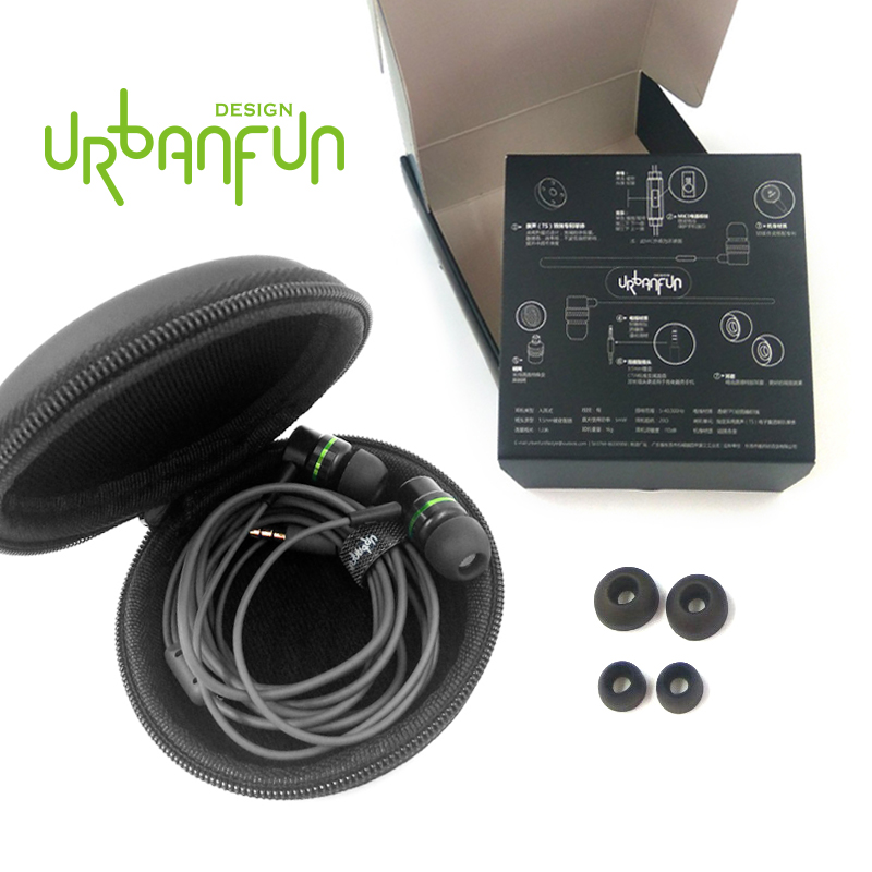 URBANFUN 3 5mm In Ear Earphone Hybrid Beryllium Drive HiFi Metal Earphone Headset Earplug with Mic