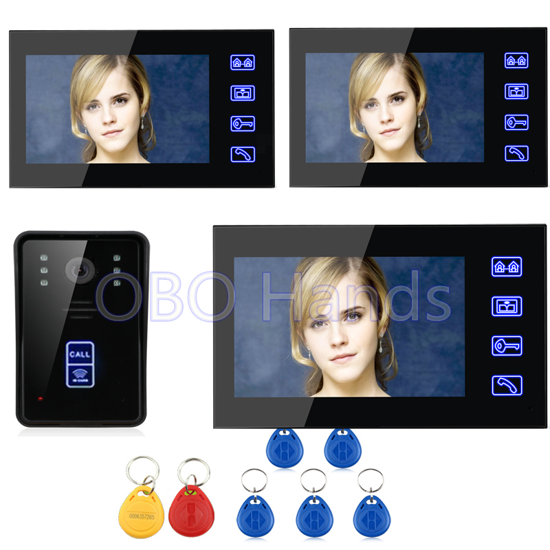 7 Wired Color Video Door Phone Doorbell Intercom System 3 Monitor+1 Camera Intercom Kit IR Night Vision Camera Can Read Card free shipping 7 wired video door phone access control doorbell intercom system kit 2 camera 1 monitor ir night vision 817fcb21