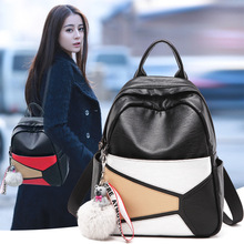 European and American fashion hit color Genuine leather women backpack The trend of Panelled soft goatskin travel backpack cooskin lightweight soft and lively lady genuine leather lockme backpack women s favorite backpack free shipping