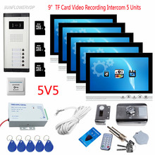 For 5 Villa Video Doorman House Cable Home Phone Door Intercom 9″ Color Video Recording 8GB TF Card Doorbell With Rfid Door Lock