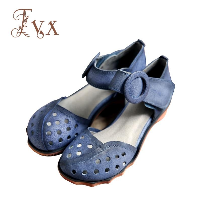 Tayunxing handmade shoes genuine leather hollow hook & loop women sandals comfort ankle strap 266-8 women shoes handmade genuine leather