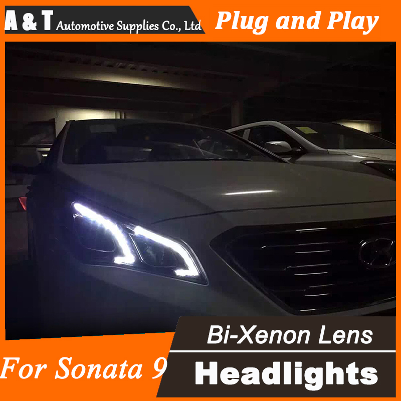 Car Styling for Hyundai New Sonata Headlights 2015-2017 LED Headlight DRL Lens Double Beam H7 HID Xenon bi xenon lens hireno headlamp for 2013 2015 nissan tiida headlight assembly led drl angel lens double beam hid xenon 2pcs