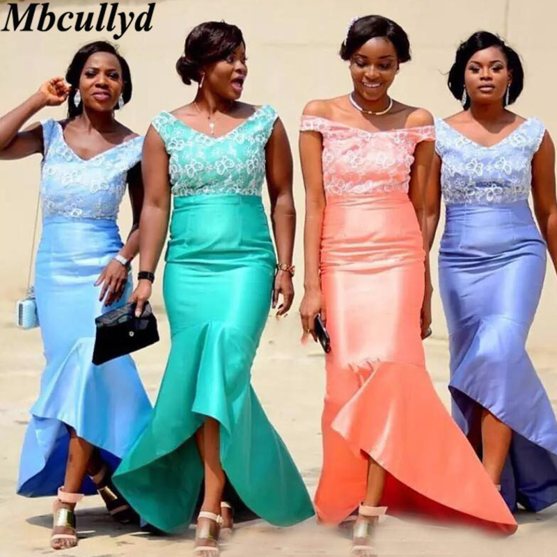 Mbcullyd Sexy V-neck Mermaid   Bridesmaid     Dresses   With Applique Lace Floor Length Wedding   Bridesmaid   Gown Formal robe de soiree