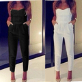 2015 summer white casual Fashion hot sale women sleeveless v neck strapless sexy Tight jumpsuits tight waist Bra piece pants