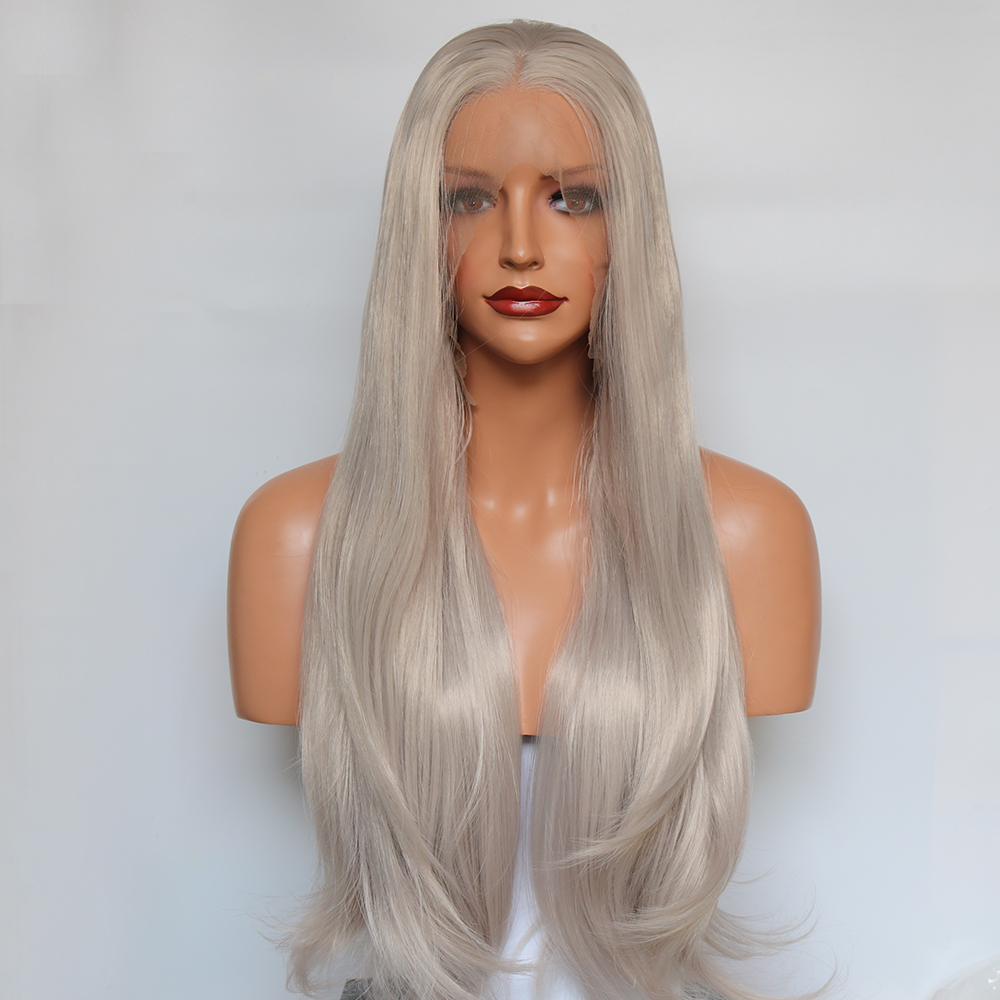 Fantasy Beauty Silver Platinum Blonde Lace Front Wig Ash Long Natural Wavy Soft Synthetic Fiber Hair Replacement Wigs for Women