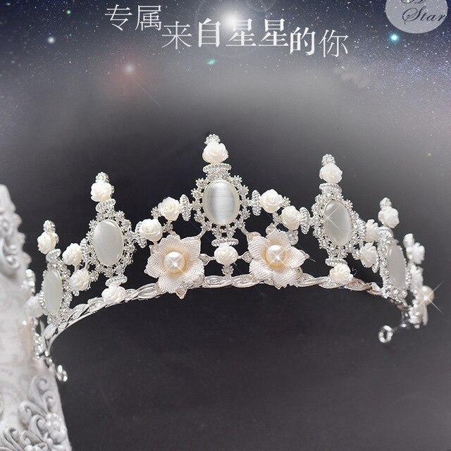 korean bride crystal pearl tiara crown luxury bride wedding accessories wholesale hair headdress