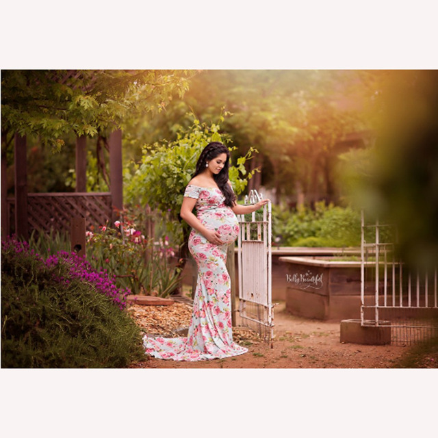 Floral Designer Wear | Boat Neck Stretchable Maternity Wear For Photo Shooting