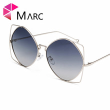MARC Polarized Women Sunglasses Attractive Fashion Hollow Eyeglass Alloy Gradient Lens Personality Glasses Round Oversized 1