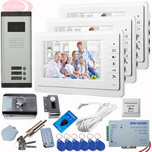 SUNFLOWERVDP Video On-Door Video Intercom 3 Monitors Night Vision Mount +Rfid Unlock Electronic Lock CCD Camera Video Intercom