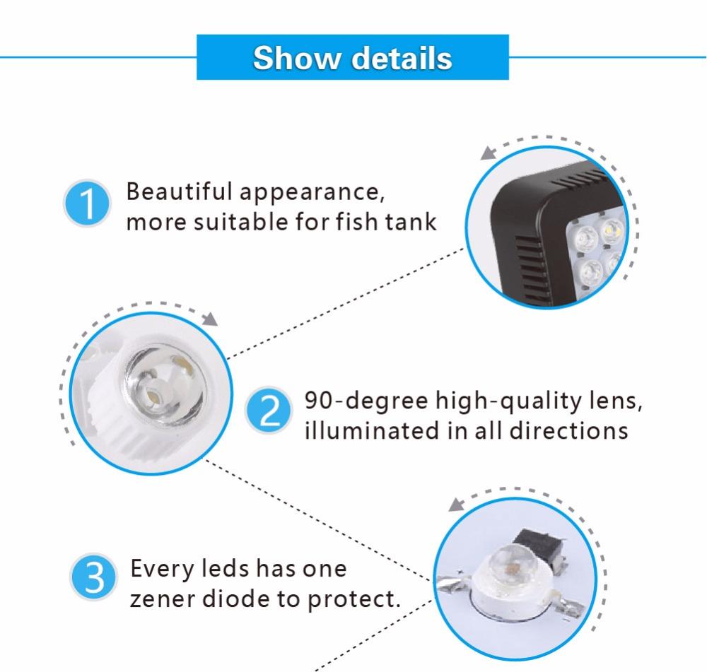 Aquarium led lighting Dimmable lamp Fish bowl light Marine Fish tank Coral lights High brightness Penetrating strong FCC CE ROHS (10)