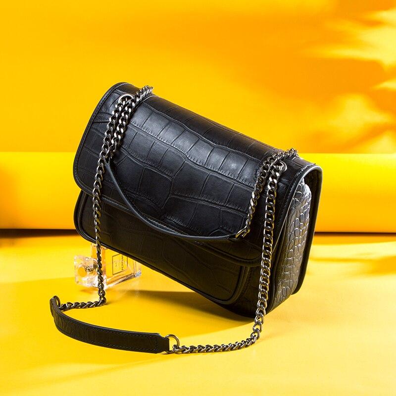 NEW Genuine Leather Crossbody Bag Women Messenger Bags Brand Designer Handbags Fashion Female Crocodile Print Chain